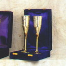 India Overseas Trading SP 26112 Silver Plated Champagne Goblet Set, Velvet Box