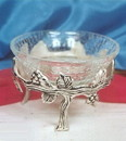 India Overseas Trading SP 7571 Silver Plated Grape Stand with Crack Glass
