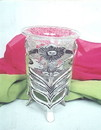 India Overseas Trading SP 7575 Silver Plated Flower Stand W Crack Glass