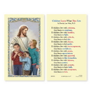 Ambrosiana 800-1031 Christ With Children (Children Learn...) Laminated Holy Card