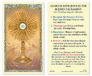 Ambrosiana 800-1055 Eucharistic Adoration Of The Blessed Sacrament Laminated Holy Card