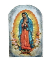 Avalon Gallery B2325 Marco Sevelli Arched Tile Plaque With Stand - Our Lady Of Guadalupe