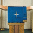 RJ Toomey B4733 Maltese Jacquard Pulpit Scarf - Blue Bethlehem Star
