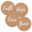 Faithworks D3264 Cork Coaster Sets:  Faith Hope Love Grace 4Pk
