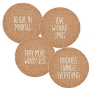 Faithworks D3265 Cork Coaster Sets: Believe In Miracles 4Pk