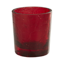 Will & Baumer F3980 15-Hour Crackle Votive Holder -  Red - 4/pk