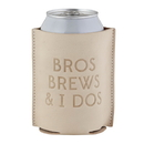 Christian Brands F4459 Leather Coozie - Bros Brews & I Dos