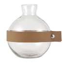 Christian Brands G2734 Round Glass + Leather Vase