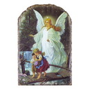 Avalon Gallery J0166 Guardian Angel Arched Tile Plaque with Wire Stand