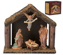 Christian Brands JC498 4-Pc Nativity Set With Wood Stable