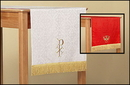 RJ Toomey LC028 Jacquard Reversible Table Runner With Dove: Red/White