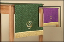 RJ Toomey LC029 Jacquard Reversible Table Runner With Cross: Purple/Green