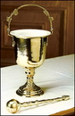 Sudbury MC479 Brass Hammered Holy Water Pot With Sprinkler Set