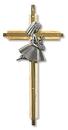 Christian Brands PT460 Oak/Brass First Communion Cross - Girl