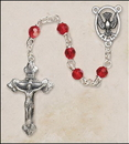 Creed SOC16RU5 6 mm Faceted Ruby Crystal Confirmation Rosary