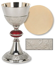 Sudbury TS682 Grape Patterned With Red Node Chalice And Paten Set
