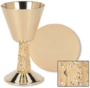Sudbury TS686 Satin Cup With Hand Cast Vine Stem Chalice And Paten Set