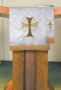 RJ Toomey VC751 Maltese Jacquard Pulpit Scarf: White