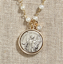 Creed WC071 Vintage Blessings Guardian Angel Necklace W/ Pearl Chain