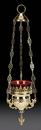 Sudbury YC957 Hanging Votive Holder With Ruby Glass, Brass