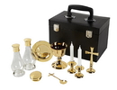 Sudbury YD045 Mass Kit With Case, Polished Brass Includes Chalice, Paten, 2 Glass Cruets, Cross, Spoon, 2 Candle Holders & Pyx