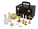 Sudbury YD046 Mass Kit With Case, Gold Plated Includes Chalice, Paten, 2 Glass Cruets, Cross, Spoon, 2 Candle Holders & Pyx