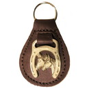 Intrepid International Leather 2 Horse Heads Key Fob