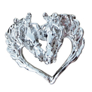 Intrepid International Driving Horse Heads in Heart Pin