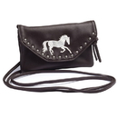 Equi-Ternatives String Bag/Wallet Embroidered W/Studs Chocolate, 9340004102