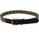 Intrepid International AGMB Wow Greek Key Brown Leather Belt -Tan Key