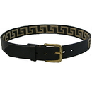 Intrepid International AGNB Wow Greek Key Black Leather Belt -Tan Key