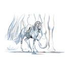 Haddington Green Equestrian Art Azzurro Dressage Horse and Rider Print, PRINT SIZE 15 3/4