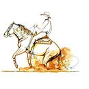 Jan Kunster Horse Prints - Stop (Western Reining)