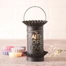 Irvin's Tinware 541VFHLKB Mini Wax Warmer with Vert. Faith Hope Love in Kettle Black