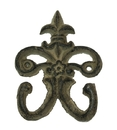 IWGAC 0170J-01554 Cast Iron Fleur De Lis Double Hooks Set of 6