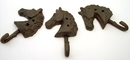 IWGAC 0170K-01677 Set of 3 Cast Iron Horse Head Single Hooks
