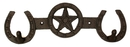 IWGAC 0170K-04181 Cast Iron Star Horseshoe 2 Hook Rack