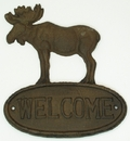 IWGAC 0170K-08446 Cast Iron Sign Welcome Moose Set of 2