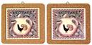IWGAC 0172-5215 Vintage Rooster Trivet Wall Plaque Set of 2