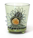 IWGAC 0172-57392 Round Green Glass Votive Holder Set of Two