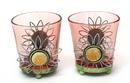 IWGAC 0172-57393 Round Pink Glass Votive Holder Set of Two
