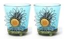 IWGAC 0172-57394 Round Blue Glass Votive Holder Set of Two