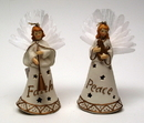 IWGAC 0182-38198 Roman Porcelain Fiber Optic Angel Ornament Set of 2
