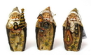 IWGAC 0182-38481 Roman Carved Santa Ornament set3