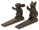 IWGAC 0184J-02054 Set of 2 Cast Iron Cat & Mouse Door Wedges
