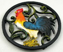 IWGAC 0184J-13027 Colorful Cast Iron Rooster Trivet