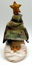 IWGAC 0197-182140SA Fabric Burlap Stuffed Santa Head with Tree Shape Door Stop