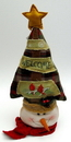 IWGAC 0197-182140SN Fabric Burlap Stuffed Snowman Head with Tree Shape Door Stop