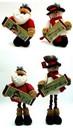 IWGAC 0197-182142 Fabric Burlap Stuffed Santa or Snowman with Expandable Legs