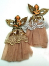 IWGAC 0197-238888 Elegant Lady with Gold Skirt Ornaments Set of Two